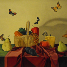 Laura Shechter: 'Still Life with 6 Butterflies', 2001 Oil Painting, Still Life. Artist Description:   butterflies surreal still life objects basket artifial fruit red yellow     ...
