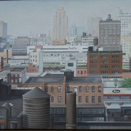 Laura Shechter: 'Summer Hase', 2004 Oil Painting, Cityscape. Artist Description:  view in Chelsea NYC hazy day      ...