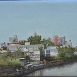 Laura Shechter: 'View from 3rd St Bridge', 2009 Oil Painting, Cityscape. Artist Description:  industrial view, Gowanus Canal,  Brooklyn            ...