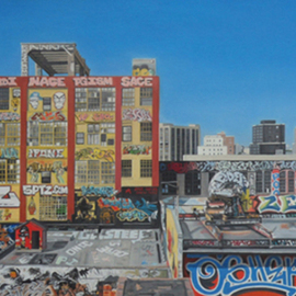 Laura Shechter: 'View from the No 7 train', 2011 Oil Painting, Cityscape. Artist Description:   grafitty Long Island City, colorful 5 Points ...