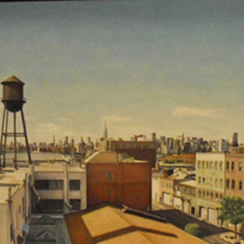 Laura Shechter: 'Water Tower', 2006 Oil Painting, Cityscape. Artist Description:  industrial cityscape, Williamsburg Brooklyn, NYC skyline         ...