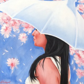 Laura Kearney: 'Amidst cherry blossom', 2016 Oil Painting, Figurative. Artist Description:    Beautiful original oil painting of a girl surrounded by cherry blossom. ...