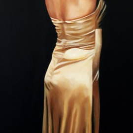 Laura Kearney: 'Lady in gold', 2016 Oil Painting, Figurative. Artist Description:    Beautiful original oil painting of a lady in gold silk. ...