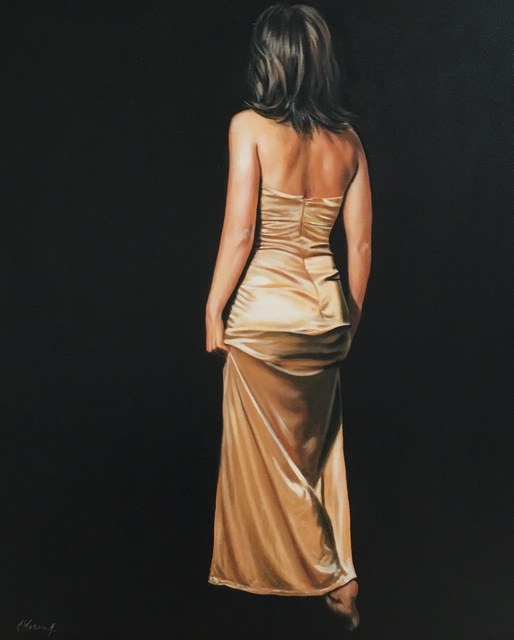 Artist Laura Kearney. 'Lady In Gold' Artwork Image, Created in 2016, Original Painting Oil. #art #artist
