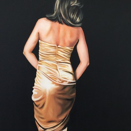 Laura Kearney: 'Lady in gold dress', 2016 Oil Painting, Figurative. Artist Description:    Beautiful original oil painting of a lady surround by blackness revealing the gold silk of her dress. ...