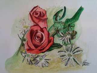Laura Testa Artwork Roses are red, 2016 Watercolor, Floral