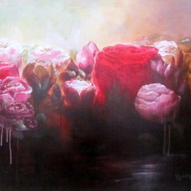 Jane De France Artwork Rose Water, 2011 Acrylic Painting, Floral