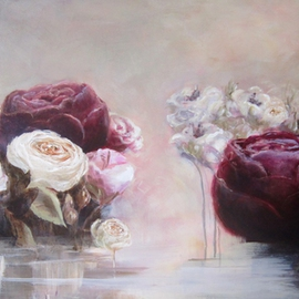 Jane De France Artwork Rose Water II, 2012 Acrylic Painting, Floral
