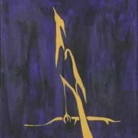 Golden Crane on Purple