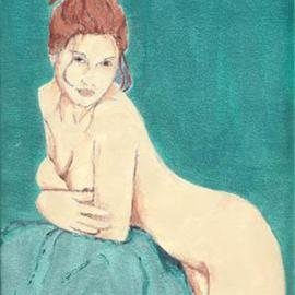 Lauren M Geraghty: 'Lady in Green Room', 2003 Acrylic Painting, Nudes.