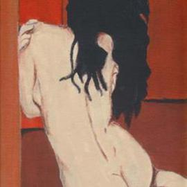 Lauren M Geraghty Artwork Sitting Nude, 2003 Acrylic Painting, Nudes