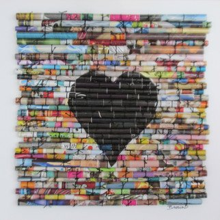 Laurie Brown: 'Heartstrings in Black', 2014 Paper, Love.  This is a fun, unique and vibrant piece of upcycled art. I use cut strips of magazines, or
