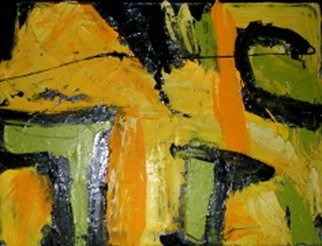 Laurie Vaughn: 'Timbuktu Redux', 2008 Acrylic Painting, Abstract Landscape.  Abstract expressionist landscape in bright yellow, orange and green, in large, acrylic impasto sweeping strokes, modernism, modernist abstract art, original canvas painting. ...