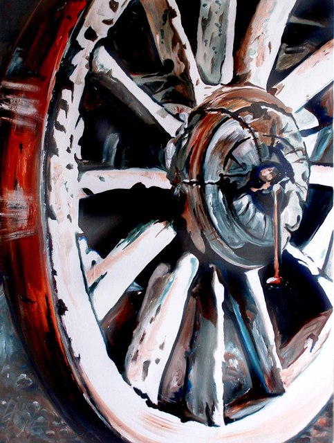 Lawry Love  'OLD CART WHEEL', created in 2011, Original Painting Acrylic.