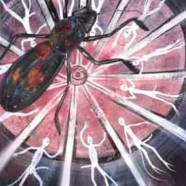Lawry Love: 'repetition', 2009 Acrylic Painting, nudes. Artist Description:   dialectical art, nude, beetle, wheel, repeat offenders, rapist, colour, light, abuse ...