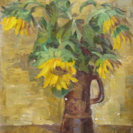 Lazar Shtyrmer Artwork Sunflowers, 1989 Oil Painting, Still Life