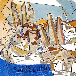 Jose Luis Lazaro Ferre: 'Barcelona', 2012 Collage, Figurative.  Different visions dreams intertwined in their stadium conscious.        ...