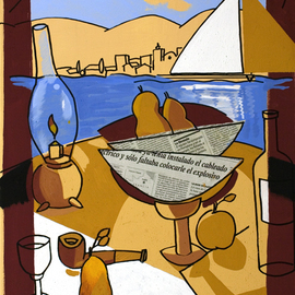 Jose Luis Lazaro Ferre: 'Breakfast at Sea', 2008 Acrylic Painting, Still Life.