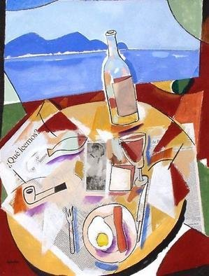 Collage by Jose Luis Lazaro Ferre titled: Breakfast at the Sea Side, created in 2004