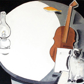Jose Luis Lazaro Ferre: 'Moon and Violin', 2002 Oil Painting, Cats.