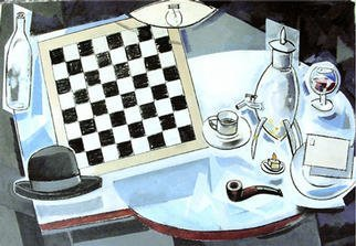 Jose Luis Lazaro Ferre: 'Tables with Samovar', 2002 Oil Painting, Still Life.
