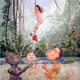 Lazaro Hurtado: 'The Game of the river', 2014 Acrylic Painting, nudes. Artist Description:  Illustrated thoughtsREADY TO HANGPeople, nudes, jungle, woman, trees, surrealism, expressionism, conceptual...
