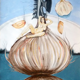 Lazaro Hurtado: 'The onion maiden and her hair', 2013 Acrylic Painting, nudes. Artist Description: Illustrated thoughtsOriginal painting by Lazaro Hurtado.  Processing 3 business days.  Sent rolled in a tube with certificate of authenticityfigurative, expressionism, conceptual, surrealism, people, woman...