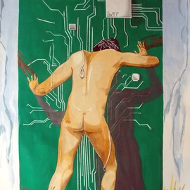 Lazaro Hurtado: 'WTF wtf', 2013 Acrylic Painting, nudes. Artist Description: Illustrated thoughtsOriginal painting by Lazaro Hurtado.  Processing 3 business days.  Sent rolled in a tube with certificate of authenticityhumour, comedy, sarcastic, conceptual, surrealism, expressionism...