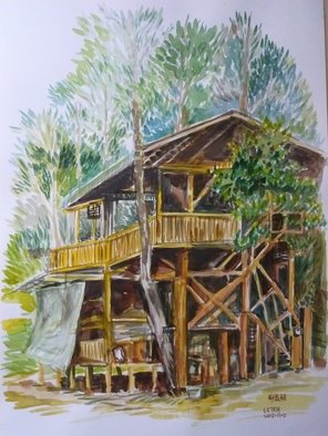 Lian-chye Teh: 'Jungle House', 2015 Watercolor, Ecological.  This house was built around several trees to preserve the natural feel. . . ...