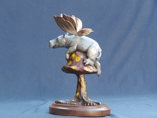 Paula Leatherland: 'High Centered', 2009 Bronze Sculpture, Fantasy. Artist Description:  Flying Hippo  ...