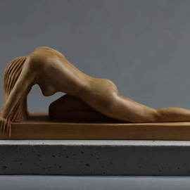 Lee Forester: 'head down', 2020 Wood Sculpture, Nudes. Artist Description: Based on a live model in my studio, I carved this timeless pose from a single block of English Lime- Wood. I find that the natural beauty of wood complements the soft curves of the feminine figure perfectly and the smooth finish invites the viewer to caress the ...