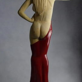 Lee Forester: 'lady in red', 2020 Wood Sculpture, Nudes. Artist Description: I started work on this sculpture at the beginning of the Spanish Covid- 19 lockdown, in March 2020. I never expected that we d still be under restrictions 9 months later, when I finished it in December 2020.Based on a local Spanish model who posed in my ...