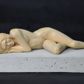 Lee Forester: 'sleeping', 2018 Wood Sculpture, Nudes. Artist Description: Based on a live model in my studio, I carved this timeless pose from a single block of English Lime- Wood. I find that the natural beauty of wood complements the soft curves of the feminine figure perfectly and the smooth finish invites the viewer to caress the ...