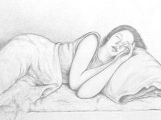 Javier H Leguizamon R  'Girl Asleep', created in 2000, Original Drawing Charcoal.