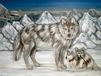 Rita Levinsohn: 'Aerial Killing', 2008 Acrylic Painting, Ecological.  A family of wolves threatened by Aerial Hunters while grazing on preserved land in Alaska. ...