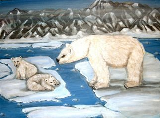 Rita Levinsohn: 'Global Warning', 2008 Acrylic Painting, Ecological.  The effect of Global Warming in the artic.  Polar Bears are now in  endanger of extinction. ...