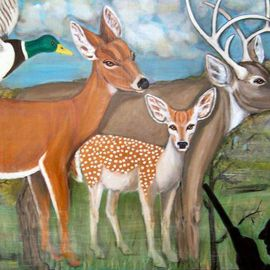 Rita Levinsohn: 'Killing Field', 2007 Acrylic Painting, Activism. Artist Description:  Painting depicts a peaceful family of deer wandering in a forest unaware of a hunter.  ...
