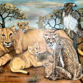 Rita Levinsohn: 'Last Look', 2008 Acrylic Painting, Activism. Artist Description:  Lion, Cheetah, Martial Eagle, all endangered species. ...