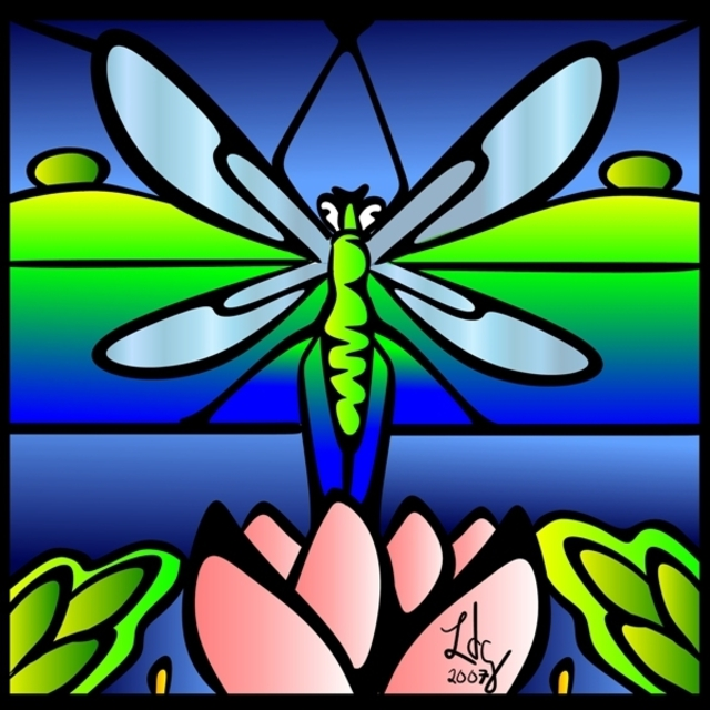 L Gonzalez  'Dragonfly Tiffany Style', created in 2007, Original Illustration.