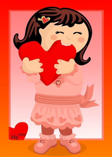 L Gonzalez: Nibbling Heart Girl Valentine, 2009 Digital Drawing