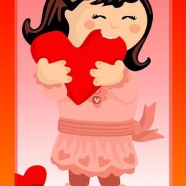 Nibbling Heart Girl Valentine