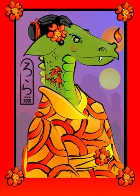 L Gonzalez: 'Year of the Dragon Geisha', 2008 Illustration, Archetypal.  An illustration for Chinese New Year of a dragon from the Chinese zodiac. ...