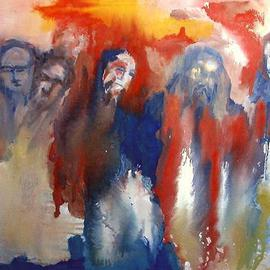 Leif M�rdh Artwork Assembly of men, 2000 Oil Painting, Figurative