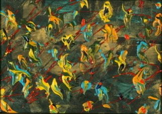 Nina Gabriel: 'Birds of Paradise', 2006 Acrylic Painting, Abstract.  Painting Acrylics & Pearl Ex Pigments on special paper.4 1/2' x 6 1/2'   Framed 8 1/2' x 10 1/2'				July 2006Special Black paper/ Acrylics/ Pearl Ex Pigments/ Golden bead dust. Antique copper frame with inside white cardboard with antique copper frame.Colors used: Red, yellow, orange, dark blue, aquamarine, golden, green and some...
