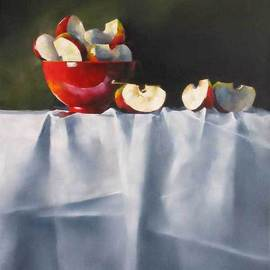 Daniele Lemieux: 'Apple Wedges', 2007 Oil Painting, Still Life. Artist Description: Unusually beautiful painting of apple pieces and a red jug on a fine tablecloth  is attractively framed in a 2- inch black wood floating frame, which will look great in any setting. ...