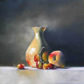 Daniele Lemieux: 'Blush Vase II', 2007 Oil Painting, Still Life. Artist Description: This artwork is available at Gallery Gevik, Toronto, ON, Canada...