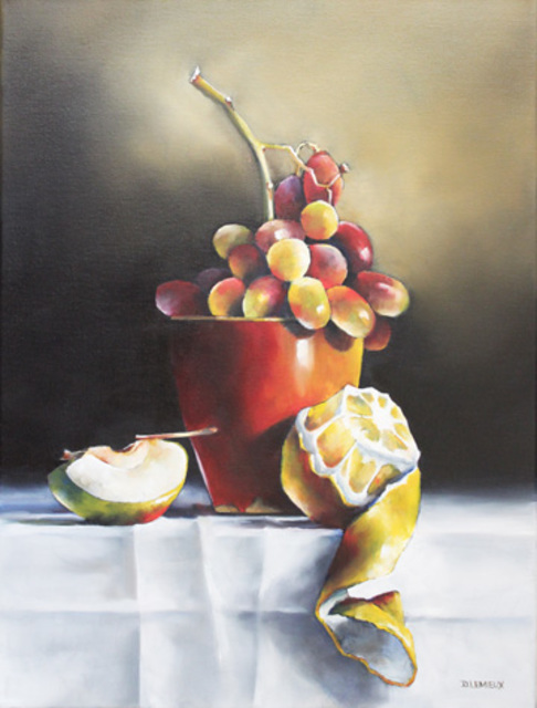Daniele Lemieux  'Fruit Cup', created in 2012, Original Painting Oil.