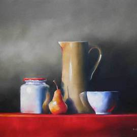 Daniele Lemieux: 'Quotidian', 2007 Oil Painting, Still Life. Artist Description: This captivating still life work is attractively framed in a 2- inch black wood floating frame, which will look great in any setting. ...