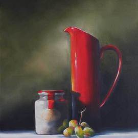 Daniele Lemieux: 'Still Life in Red and Green', 2007 Oil Painting, Still Life. Artist Description: This winsome painting has a lot of personality for a simple subject and is attractively framed in a 2- inch black wood floating frame, which will look great in any setting. ...