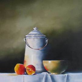 Daniele Lemieux: 'Vintage Kitchen', 2007 Oil Painting, Still Life. Artist Description: This charming painting remember when life was simpler and is attractively framed in a 2- inch black wood floating frame, which will look great in any setting. ...